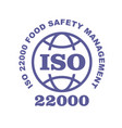 iso 22000 stamp sign - food safety systems vector image vector image