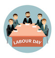 labour day poster with cartoon business vector image vector image