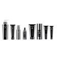 luxury black 8 pcs cosmetics bottle set vector image vector image