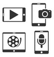 mobile multimedia flat icon set vector image