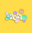 new year 2021 paper cut numbers in delicate colors vector image