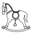 Rocking horse plain in black and white