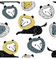seamless childish pattern with cute cartoon wolfs vector image