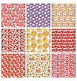set fruits and berries seamless pattern vector image
