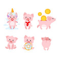 set of cute pink pig vector image