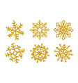 set six gold glitter texture snowflake isolated vector image