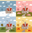 stone house in different seasons - winter spring vector image