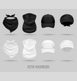 white and black head bandanas and cap neck scarf vector image vector image