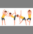 yoga man poses set girl yoga poses doing vector image