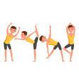 yoga man poses set girl yoga poses doing vector image vector image