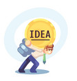 young businessman with business idea light bulb on vector image