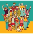 Big happy smiling family standing group color vector image