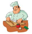 chef cutting vegetables vector image