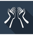 Hand flat icon with long shadow vector image