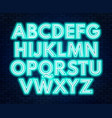 aquamarine white neon alphabet on a dark vector image vector image