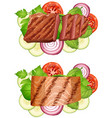 beef steak and salmon steak with vegetables vector image vector image