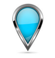 blue location pin with bold chrome frame 3d shiny vector image