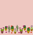 blush border colorful cacti collection repeat vector image vector image