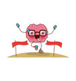 brain cartoon with glasses running and passing the vector image vector image
