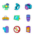 camera icons set cartoon style vector image vector image