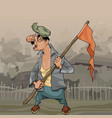 cartoon man with flag on stick in village vector image vector image
