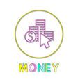 coin column dollar symbol and cursor linear icon vector image vector image