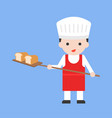 cute pastry chef taking out with shovel freshly vector image vector image