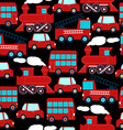 Cute red transport children in a seamless pattern vector image