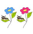 Cute smiling cartoon caterpillar on fresh green vector image vector image