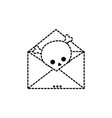 dotted shape e-mail letter message with danger vector image vector image