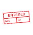 Entered red grunge rubber stamp