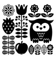 finnish inspired folk art pattern in black vector image vector image