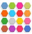 Flat blank web button hexagon icon set with shadow vector image vector image