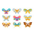 flat set brightly colored butterflies vector image vector image