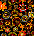 Floral doodle seamless on black background vector image vector image