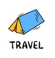 hand draw doodle simple tent travel camp icon vector image vector image