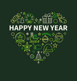 happy new year heart shaped outline green festive vector image
