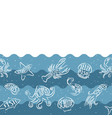 horizontal repeating pattern with seafood products vector image