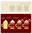 How to make decorated cup of christmas chocolate vector image