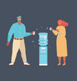 illustration man and woman drink water standing vector image vector image