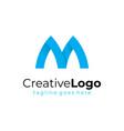 initial letter m logo blue ribbon business logo vector image vector image
