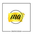 initial ma letter logo template design vector image