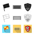 isolated object of soccer and gear icon set of vector image