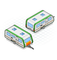 isometric roulotte in two different positions vector image vector image