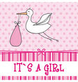 its a girl with stork baby shower vector image