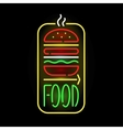Light neon food label vector image