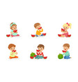 little kids enjoying eating watermelon set vector image vector image