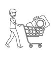 man with photographic camera in shopping cart vector image