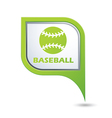 Map pointer with baseball icon vector image vector image