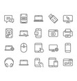 mobile devices line icons laptop ssd and hdd vector image vector image